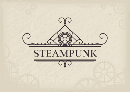 Vintage steampunk label with elegant ornament. Vector retro design
