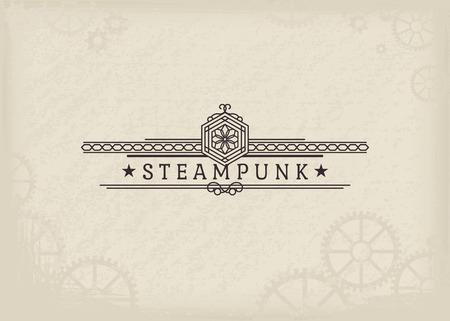 Vintage steampunk label with elegant ornament. Vector retro design