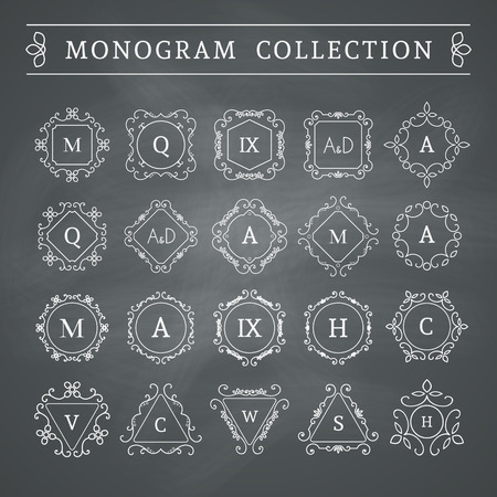 Vintage monogram set on chalkboard background. Vector emblems for calligraphic luxury logos and retro ornamental design.