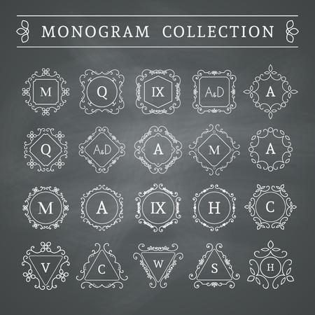 Vintage monogram set on chalkboard background. Vector emblems for calligraphic luxury logos and retro ornamental design.