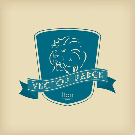 ancient lion: Heraldic lion emblem with shield and ribbon. Vector badge template