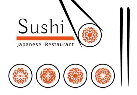 스시 로고 템플릿을 설정합니다. 일본어 레스토랑과 카페 벡터 장식 상징