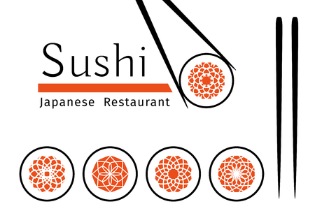 cuisine: Sushi logo templates set. Vector ornamental emblem for japanese restaurants and cafes