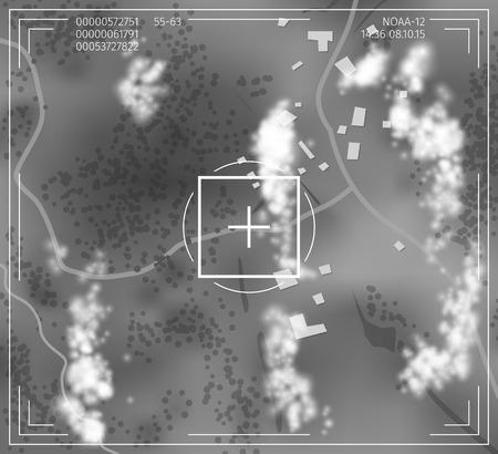 blip: Monochrome satellite image. Vector illustration of birds-eye ground surface