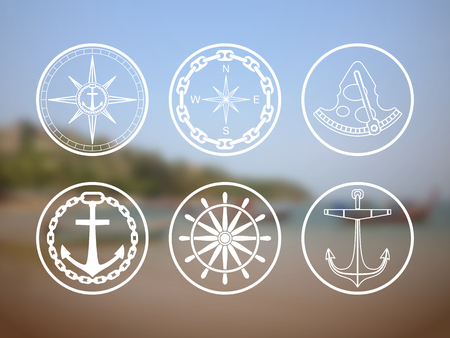 travel agencies: Retro nautical labels and icons. Vector templates for logo design of travel agencies, tourist offices, boat rental or cruise.