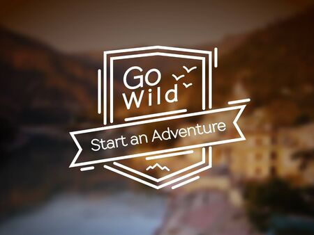 alpinism: Go Wild - adventure sign. Vector lineart badge for extrime sport design, camping and hiking