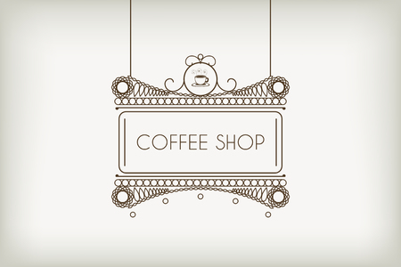 outdoor advertising: Vintage signboard for outdoor advertising of cafe or coffee shop. Vector retro lineart design