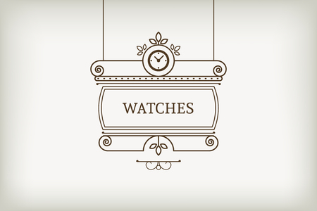 Vintage signboard for outdoor advertising of watchmaker or watch store. Vector retro lineart design
