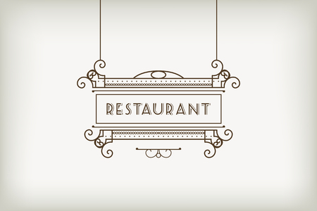 cafe: Vintage signboard for outdoor advertising of cafe or restaurant. Vector retro lineart design Illustration