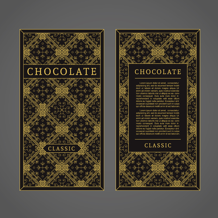 Vector template for chocolate packaging design with luxury seamless pattern Illustration