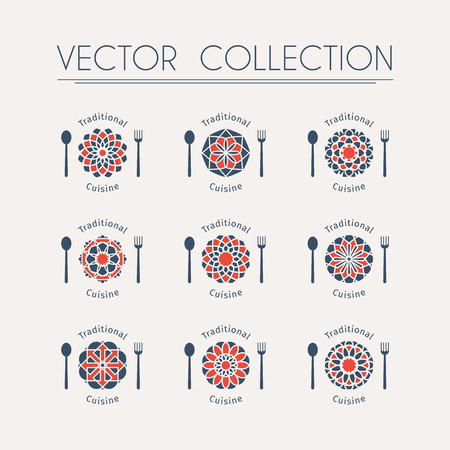 Asian food logo templates set. Vector ethnic ornamental design for restaurants and cafes. Illustration