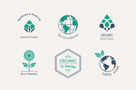 medicine: Ecological logo templates. Vector emblems for eco foundations, organic products, natural food and medicine, green technology