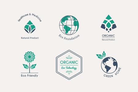 medicina: plantillas de logotipo ecol�gico. emblemas de vectores para las fundaciones ecol�gicas, productos org�nicos, alimentos naturales y la medicina, la tecnolog�a verde