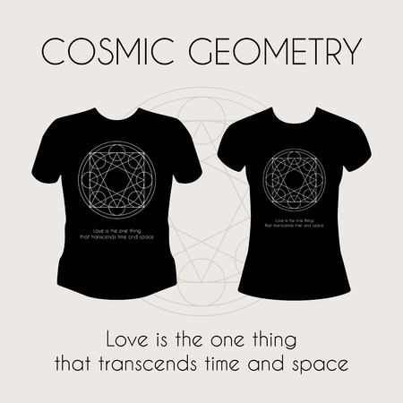 freemasonry: Cosmic Geometry. Vector t-shirt template with mystical sign Illustration