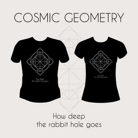 tshirt template: Cosmic Geometry. Vector t-shirt template with mystical sign Illustration