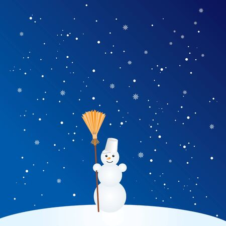 snowflake background: Vector illustration of little cute snowman with broom