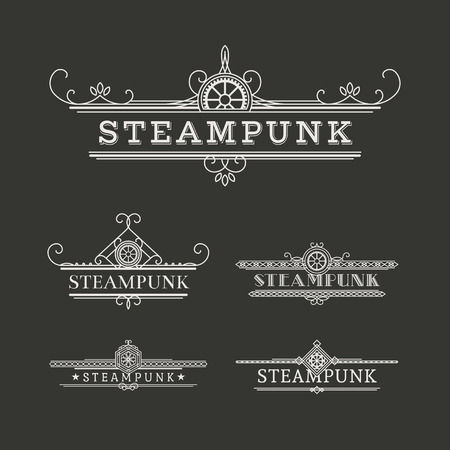 Vintage steampunk labels with elegant ornament. Vector retro collection  イラスト・ベクター素材