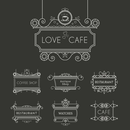 letreros: carteles de época para la publicidad al aire libre de la cafetería o restaurante. Vector colección retro lineart Vectores