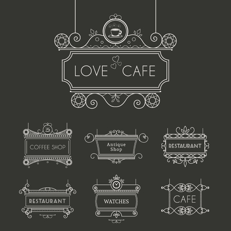 cafe shop: Vintage signboards for outdoor advertising of cafe or restaurant. Vector retro lineart collection