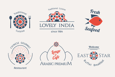 Asian food templates set. Vector ethnic ornamental design for restaurants and cafes.