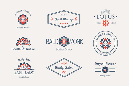 health beauty: Asian health and beauty logo templates set. Vector ethnic ornamental design for beauty salons, spa, massage, barber shops, saunas, healthcare and medicine. Illustration