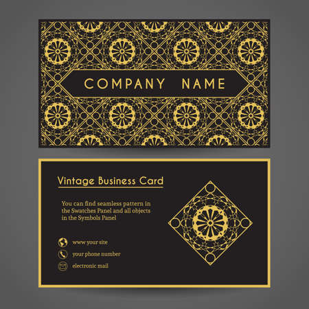 stationery border: Luxury vintage business card. Vector editable template include front and back side, geometric pattern and contact icons