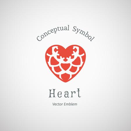 Ornamental heart logo template. Vector emblem for medical organization, hospital or charitable foundation. Illustration
