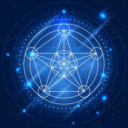 Signo geometría mágica. Vector la alquimia símbolo místico en el fondo espacio Foto de archivo - 49508249