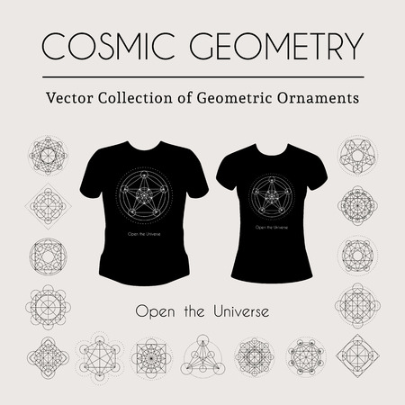 Cosmic Geometry. Vector t-shirt template with mystical sign Illustration