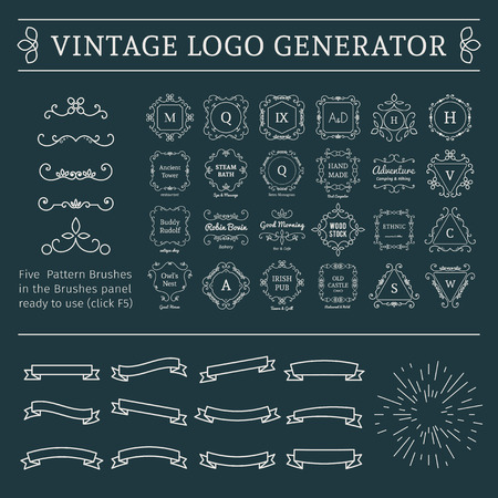 Vintage logo generator. Vector set of luxury logos templates and calligraphic lineart pattern brushes, sunburst and ribbons.