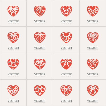 foundation: Ornamental hearts logos templates. Vector emblems set for medical organization, hospital or charitable foundation.