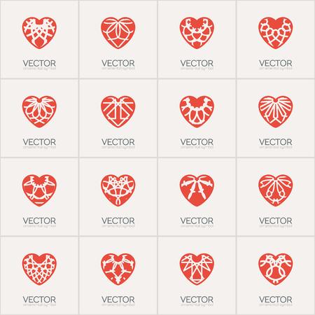 Ornamental hearts logos templates. Vector emblems set for medical organization, hospital or charitable foundation.