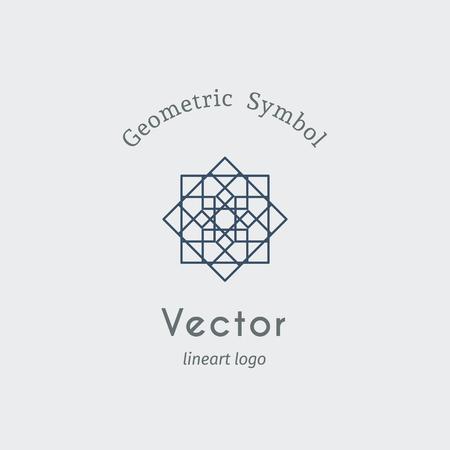 lineart: Geometric logo template. Vector ornamental lineart symbol