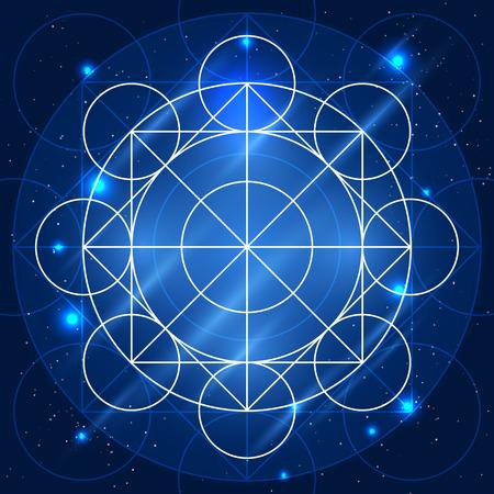 alquimia: Signo geometr�a m�gica. Vector la alquimia s�mbolo m�stico en el fondo espacio Vectores