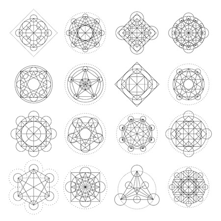 Magic geometry signs collection. Vector runes or alchemy mystical symbols  イラスト・ベクター素材