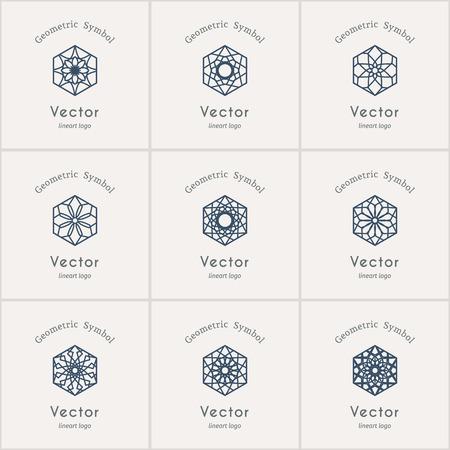 Lineart ornamental logo templates set. Vector hexagonal arabic geometric symbols