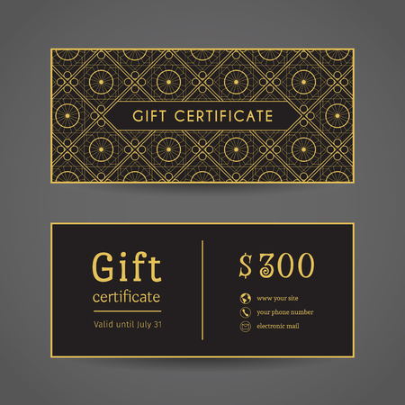 company background: Vintage ornamental gift certificate. Vector editable template include front and back side