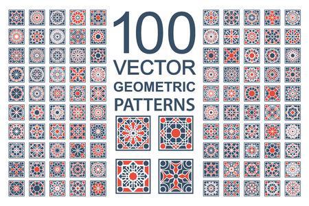 Patronen met geometrische ornamenten. Vector set van arabische naadloze texturen Stock Illustratie