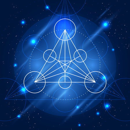 arcanum: Magic geometry sign. Vector alchemy mystical symbol on space background
