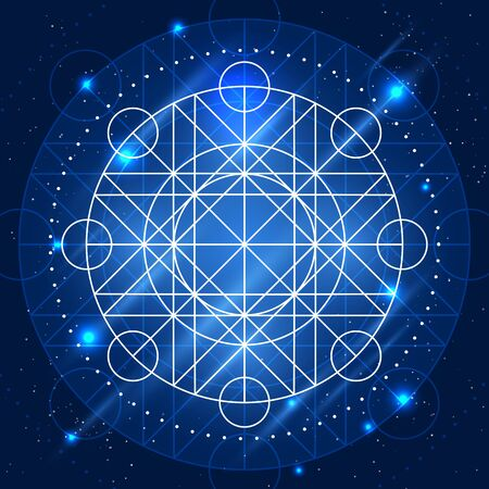 artifact: Magic geometry sign. alchemy mystical symbol on space background