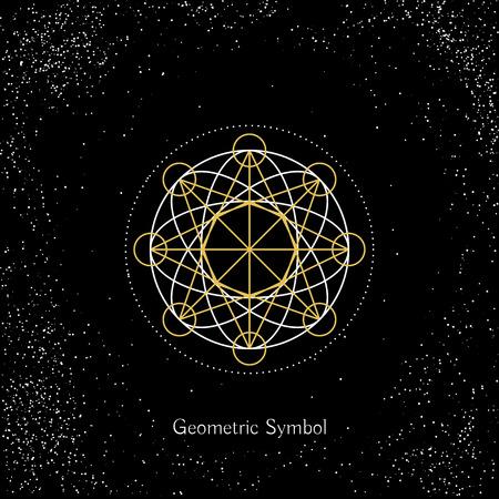 arcanum: Luxury geometry sign. Vector lineart symbol on black background Illustration