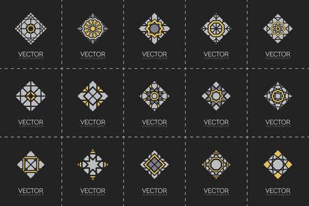 set symbols: Geometric logo template set. Vector arabic ornamental symbols