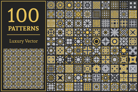 tile pattern: Luxury patterns with geometric ornaments. Vector set of arabic seamless textures
