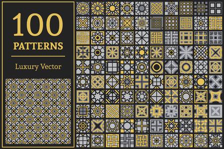 flores chinas: patrones de lujo con adornos geométricos. Vector conjunto de texturas sin fisuras árabe
