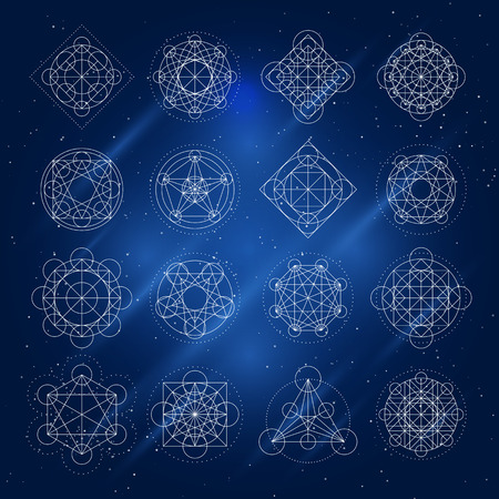 arcanum: Magic geometry signs. Vector alchemy mystical symbols set on space background