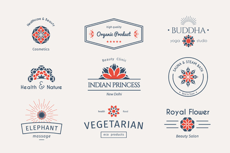 food industry: Asian health and beauty logo templates set. Vector ethnic ornamental design for beauty salons, spa, massage, cosmetic industry, vegetarian food, saunas, healthcare and medicine.