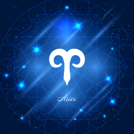 aries zodiac: Zodiac sign aries. Vector space background with geometric ornament