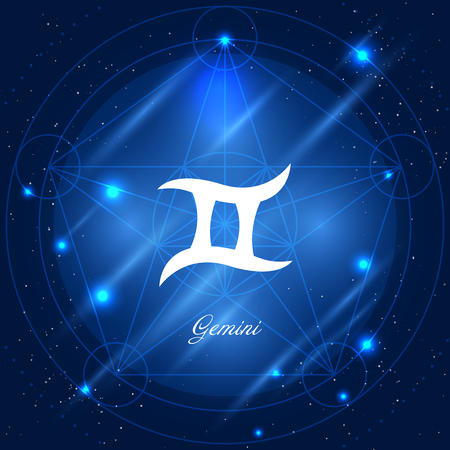 astrologer: Zodiac sign gemini. Vector space background with geometric ornament