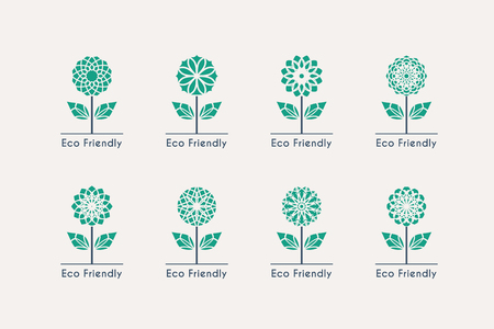 green technology: Ecological logo templates. Vector emblems for eco foundations, organic products, natural food and medicine, green technology