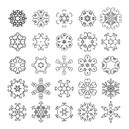 mehendi: Lineart circular mandalas set. Vector arabic geometric symbols